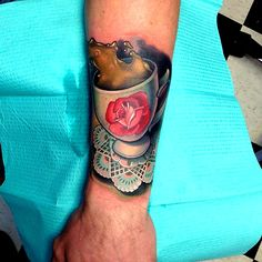 Death Wish Coffee Flower Forearm Color Doily Tattoo (Our Apologies- Artist Unknown) Tattoo Art, Body Painting, Coffee Iv, Coffee Mugs, Tribute To Mom, Knuckle Tattoos, Coffee Tattoos, How To Order Coffee, Geometric Tattoos