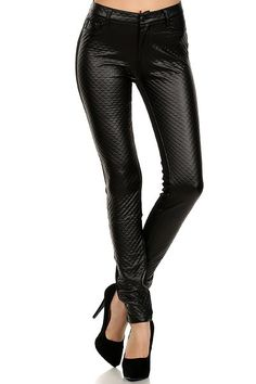 Quilted Split Faux Leather Leggings | OnlyLeggings - Leggings Superstore