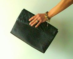Oversize Envelope Clutch Bag in Ostrich Skin  by PittiVintage, $45.00