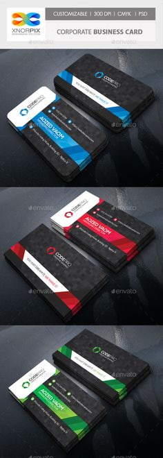 #Corporate #Business Card - Corporate Business #Cards Download here: https://graphicriver.net/item/corporate-business-card/19393837?ref=alena994