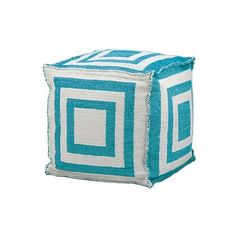 "Pouf: Simple Stripe Indoor/Outdoor Decorative Pouf - Turquoise - "" ($124) ❤ liked on Polyvore featuring home, furniture, ottomans, turquoise furniture, colored furniture, stripe ottoman, indoor outdoor furniture and nourison"