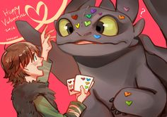 Happy Valentine ... Drawn by kadeart ... How to train your dragon, toothless, hiccup, night fury, dragon, viking