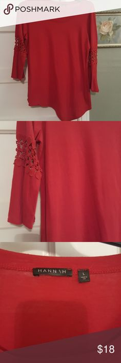 Beautiful red high low tunic top Perfect to wear with leggings and boots or jeans this red size large tunic top high low asymmetrical hemline has lace insert with bell sleeves bundle 3 items for 30% off.size large.....#9 Hannah Tops Tunics