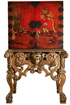 English Lacquer Cabinet on Stand Circa 1850 Gold Leaf Stand English Time, Antique Cabinets, Gold Leaf, Vintage Cabinet, Iron, Leaves, Antiques, Handmade, Ebay