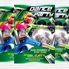 Dance Party - Premium Flyer Template + Facebook Cover http://exclusiveflyer.net/product/dance-party-premium-flyer-template-facebook-cover/