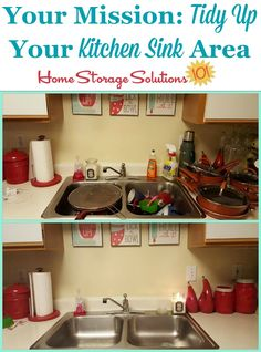 The first step in #decluttering your kitchen sink area is to tidy up, and wash dirty dishes, pots and pans. Here's a before and after showing how just this small task can make a huge difference in your kitchen! {on Home Storage Solutions 101} #KitchenCleaning #CleaningTips
