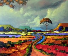 Cornelius Bosch Paintings images South African Artists, Cornelius, Bright Colours, Colorful Paintings, Landscape Paintings, Trees, Passion, Sky, Sculpture