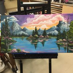 This is awesome Paintings Of Landscapes, Mountain Paintings, Lake Painting, Diy Painting, Painting & Drawing, Acrylic Canvas, Canvas Art, Bob Ross, Art Sketches
