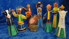 HAITI !    Tin Sculpture Nativity