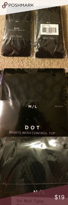 Set of tights Never worn or opened tights (2 pairs) in fashionable designs: dots and geo mesh. Both are control top.  94% nylon, 6% spandex. Great quality tights. White House Black Market Accessories Hosiery & Socks