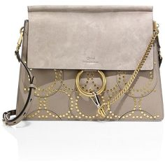 Chloe Faye Medium Studded Circle Leather & Suede Shoulder Bag ($2,475) ❤ liked on Polyvore featuring bags, handbags, shoulder bags, apparel & accessories, motty, brown suede purse, chloe handbags, studded shoulder bag, chloe purses and brown purse