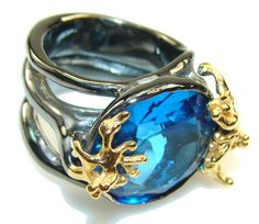 $125.56 Italy Made,Rhodium Plated, 18ct Gold Plated London Blue Topaz Sterling Silver Ring s. 6 1/4 at www.SilverRushStyle.com #ring #handmade #jewelry #silver #topaz