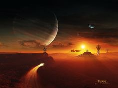 Sci Fi Landscape - Id: 174068 - Wallpaper Abyss Space Fantasy, Sci Fi Fantasy, Fantasy World, Planets In The Sky, Planets And Moons, Alien Worlds, Futuristic Art, Wonderful Picture, Science Fiction Art