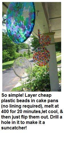 Melted Bead Suncatcher - Layer cheap plastic beads in cake pans (no lining required), melt at 400 degrees for 20 minutes. Let cool & then flip them out. Drill a hole in it to make it a suncatcher. Cute Crafts, Crafts To Make, Crafts For Kids, Simple Crafts, Diy Crafts Cheap, Food Crafts, Kids Diy, Suncatchers, Summer Crafts