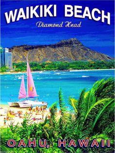 Hawaii Diamond Head Waikiki Oahu United States Travel Advertisement Poster