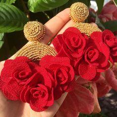 Unique Earrings, Flower Earrings, Earrings Handmade, Handmade Jewelry, Crochet Earrings, Ceramic Jewelry, Clay Jewelry, Jewelry Crafts, Fancy Jewellery