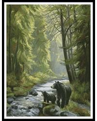 This counted cross stitch pattern of Bears by a Stream was created from the beautiful artwork of Lucie Bilodeau. Only full cross stitches are used in this pattern. It is a black and white symbol pattern.