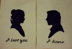 """""""I love you."""" """"I know."""" (These are silhouettes of Leia and Han from the Star Wars films.)"""