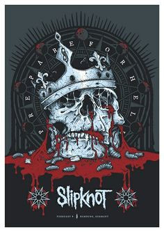 This brilliant Slipknot Skull print was created by Keepsake Design and is the Official screenprinted poster for Slipknot's performance in Hamburg Arte Heavy Metal, Nu Metal, Heavy Metal Music, Heavy Metal Bands, Music Artwork, Metal Artwork, Musik Illustration, Rock Band Posters, Rock Y Metal