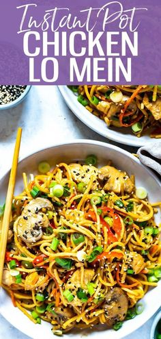 This Instant Pot Lo Mein with Chicken is made super easy in your pressure cooker with regular old spaghetti - make Chinese takeout at home with this veggie-packed lo mein recipe! | instant pot | instant pot recipes | instant pot pasta recipes | instant pot chicken lo mein | healthy instant pot recipes || Eating Instantly #instantpotrecipes #healthyrecipes