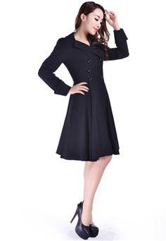 Chic Star Retro Black Coat