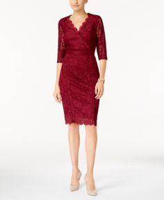 Thalia Sodi Lace Sheath Dress, Created for Macy's - Red XXL
