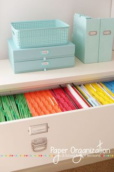 Manilla file folders have nothing on this pristine color-coded set. Finding important papers barely requires reading labels — just a glance toward the right color to find exactly what you need fast.  See more at A Bowl Full of Lemons »  - WomansDay.com