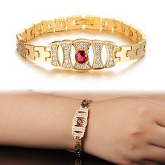 Auger Red Bride Lady K Gold Plated Bracelet With KS