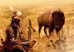 """Native American Sioux and Bison"" by I. Spadecaller: Image is a composite of photographs and digital artwork created in Photoshop.The portrait of Sioux American Indian sitiing was originally published in 1900 by photogrphaer, Gertrude Ksebier Native American Spirituality, Native American Wisdom, Native American Beauty, Native American History, American Indians, American Bison, American Code, American Symbols, American Indian Quotes"