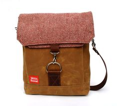 Waxed Canvas Satchel / Cranberry Vintage Wool with Oiled