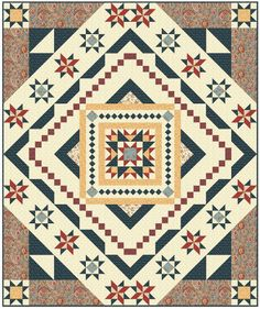 Essex block-of-the-month is a queen-size quilt featuring a center medallion quilt block and a variety of star quilt blocks. It's a stunner. Star Quilt Blocks, Star Quilts, Patchwork Quilting, Triangles, Queen Size Quilt, Quilt Border, How To Finish A Quilt, Block Of The Month, Quilt Kits