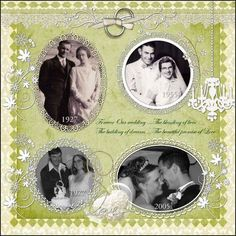 4 generations of wedding pictures: gorgeous page!   #genealogy #template