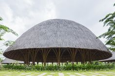 Vietnamese Architect Vo Trong Nghia creates a series of bamboo and thatch domes for Diamond Island Community Centre, in the east of Ho Chi Minh City Bamboo Architecture, Vernacular Architecture, Sustainable Architecture, Amazing Architecture, Contemporary Architecture, Residential Architecture, Dome Structure, Bamboo Structure, Wooden Pavilion