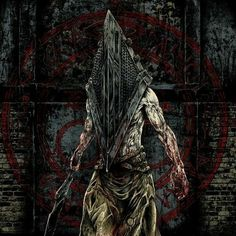 """Pyramid Head from """"Silent Hill."""" I like the original helmet from """"Silent Hill but the movie adaptation is still nifty. Pyramid Head, Arte Horror, Horror Art, Horror Films, Silent Hill Krankenschwester, Beautiful Dark Art, Creepy Pictures, Classic Horror Movies, King Of Fighters"""