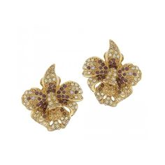Joan Rivers Jeweled Flowers Orchid Earrings | Send the Trend ($32) via Polyvore