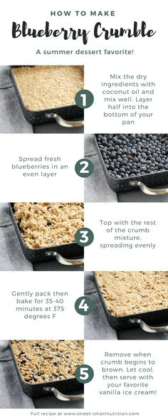 Blueberry Crumble Step by Step | Learn how to make this simple summer dessert from Street Smart Nutrition