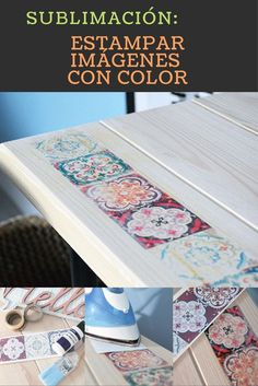 Color stamping on wood Home Crafts, Diy And Crafts, Paper Crafts, Foto Transfer, Decoupage Vintage, Recycled Furniture, Decorative Boxes, Crafty, Projects
