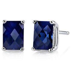 14 kt White Gold Radiant Cut 2.50 ct Blue Sapphire Earrings #Oravo #Stud