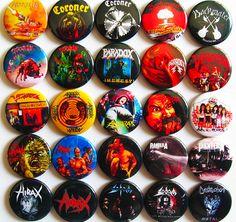 ANTHRAX, HIRAX, PANTERA, CORONER, TANKARD, SODOM OTHERS 25 Pins Buttons Badges THRASH METAL!
