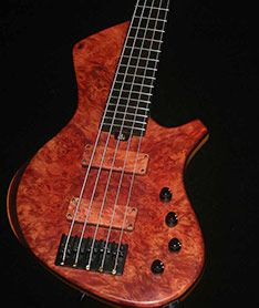 Tasmanian Myrtle burl Bass build by Alan Cringean. AC Hand crafted Basses & Guitars