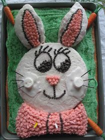 To make this super easy bunny cake, I used two strawberry cake mixes, separated into one large cookie sheet (jelly roll pan) and two spring...