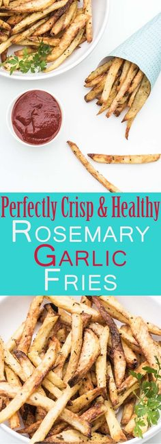 Perfectly Crispy, Homemade Rosemary Garlic French Fries Recipe. Healthy, Easy to make, perfect with your favorite burger, vegan/vegetarian, gluten-free and only clean eating ingredients! /// VeganFamilyRecipes.com /// #cleaneats #side
