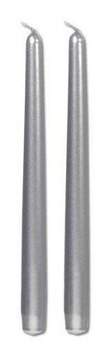 10 Inch Metallic Taper Candle Silver 2 pcs Pk by Light In The Dark. $4.95. Standard 7/8 inch base to fit most standard taper candle holders. Set of 2 Silver 10 inch Taper Candles. Metallic Silver finish. Drip Resistant. Measures 10 inches tall. The holiday season is the perfect time to add the beauty of silver and gold to seasonal home accents and festive celebrations. Our high quality gold and silver taper candles add the finishing touches to centerpieces, mantle designs and ...