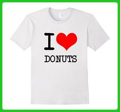 Mens I Love Donuts Funny Food T Shirt Large White - Food and drink shirts (*Amazon Partner-Link)