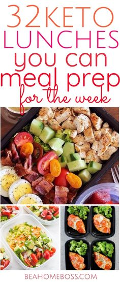 32 keto approved lunches you can easily meal prep for the whole week. All of your keto questions answered, even if you are a beginner at the keto diet. Everything you need to be super successful at starting to meal prep for keto even if you are new to it. Ketogenic Diet Meal Plan, Keto Meal Plan, Diet Meal Plans, Ketogenic Recipes, Keto Diet Meals, Lunch Recipes, Diet Recipes, Healthy Recipes, Keto Lunch Ideas