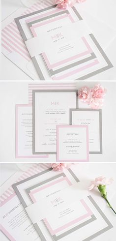 Modern Pink and Gray wedding invitation suite | http://www.shineweddinginvitations.com/wedding-invitations/modern-initials-wedding-invitations