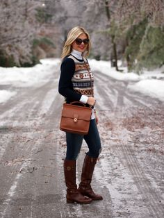 Suburban Faux-Pas: Fair Isle Sweater: J. Crew {similar} | Blouse: Ann Taylor | Jeans: Rag + Bone | Boots: Tory Burch {sold out, similar} | Bag: Coach | Sunnies: Gucci | Rings: Asos | Watch: Micheal Kors | Bracelet: J.Crew | Lips: Russian Red by MAC