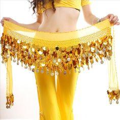 Fashion Sexy Chiffon Belly Dance Hip Scarf 58 Coins Sequin Waistband Belt Skirt Hip Wrap
