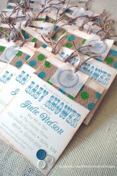 vintage themed burlap baby shower invitation with aqua and lime httpswww