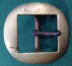 Large Antique Buckle - Brass Frame & Bar With An Iron Prong